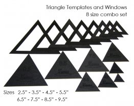 Triangle Template & Fussy-Cut Window Combo Set, All Sizes (8 sizes, 16 pieces) - Martelli Templates
