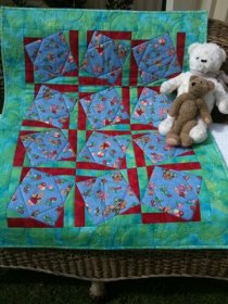 Blue Teddy Vertical Join Technique Quilt Pattern - The Sewing Revolution