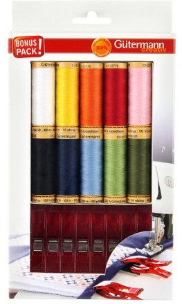 Gutermann Sewing Cotton Thread 10 Pack plus 8 XL Clips